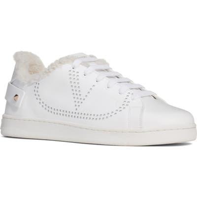 Valentino Garavani Backnet Genuine Shearling Trim Sneaker - White