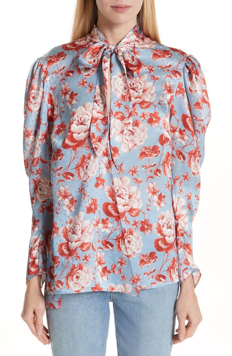 MAGDA BUTRYM Salzburg Floral Silk Jacquard Blouse, Main, color, 400