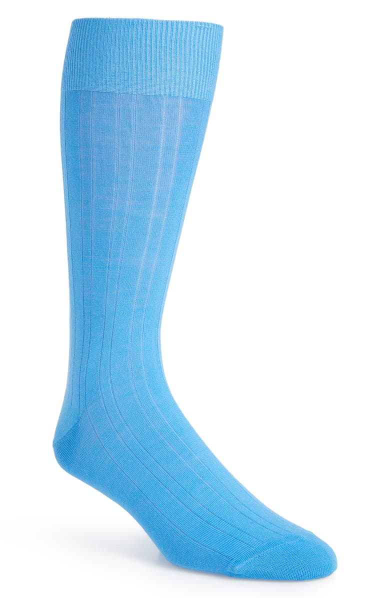 CALIBRATE Solid Merino Wool Blend Dress Socks, Main, color, BLUE MAYA