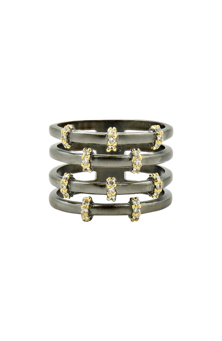 FREIDA ROTHMAN Imperial Pavé Cage Ring, Main, color, GOLD/ BLACK