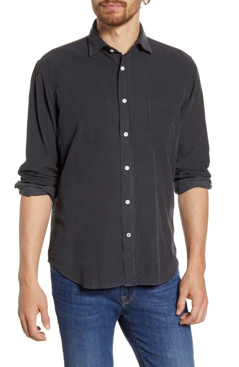 HARTFORD Paul Regular Fit Corduroy Button-Up Shirt, Main, color, DARK GREEN