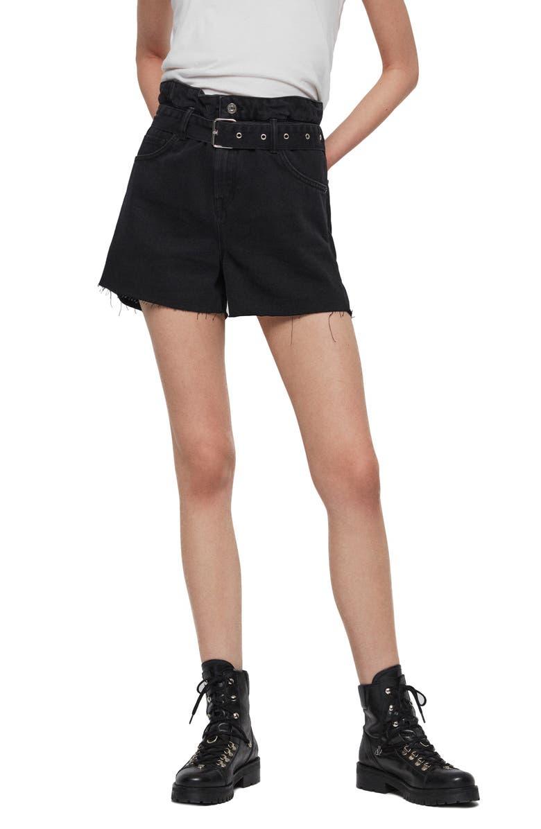 ALLSAINTS Hannah Paperbag Waist Denim Shorts, Main, color, 001