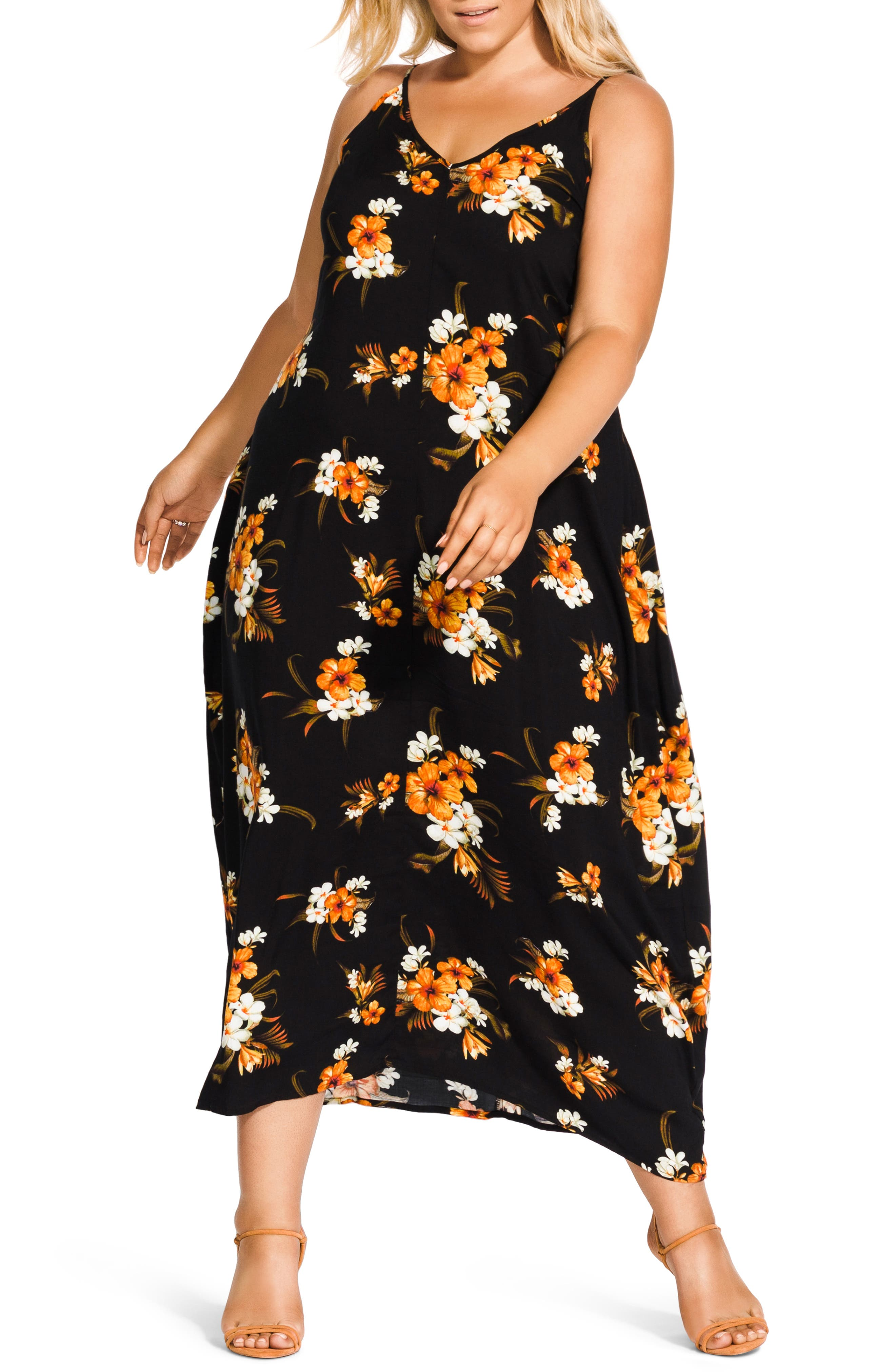 Plus Size City Chic Aruba Flora Print Maxi Dress, Black