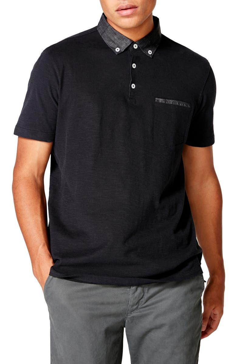 GOOD MAN BRAND Slub Jersey Cotton Polo Shirt, Main, color, BLACK