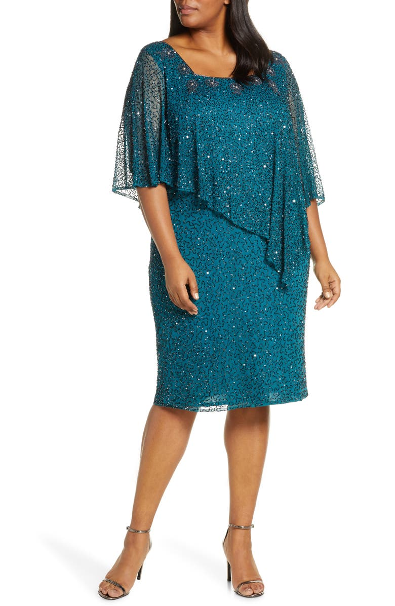 PISARRO NIGHTS Cape Bodice Cocktail Dress, Main, color, TEAL GLAZE