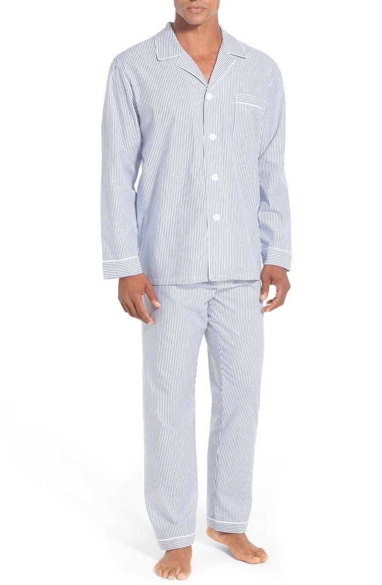 MAJESTIC INTERNATIONAL Stripe Cotton Pajamas, Main, color, NAVY