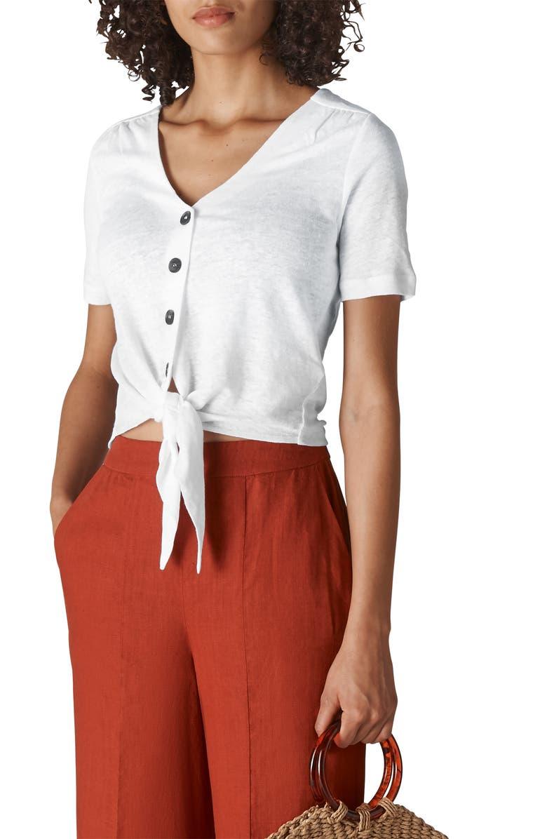 WHISTLES Tie Hem Linen Top, Main, color, WHITE