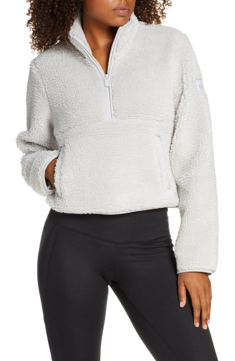 ALO Shanti Half Zip Faux Shearling Pullover, Main, color, DOVE GREY