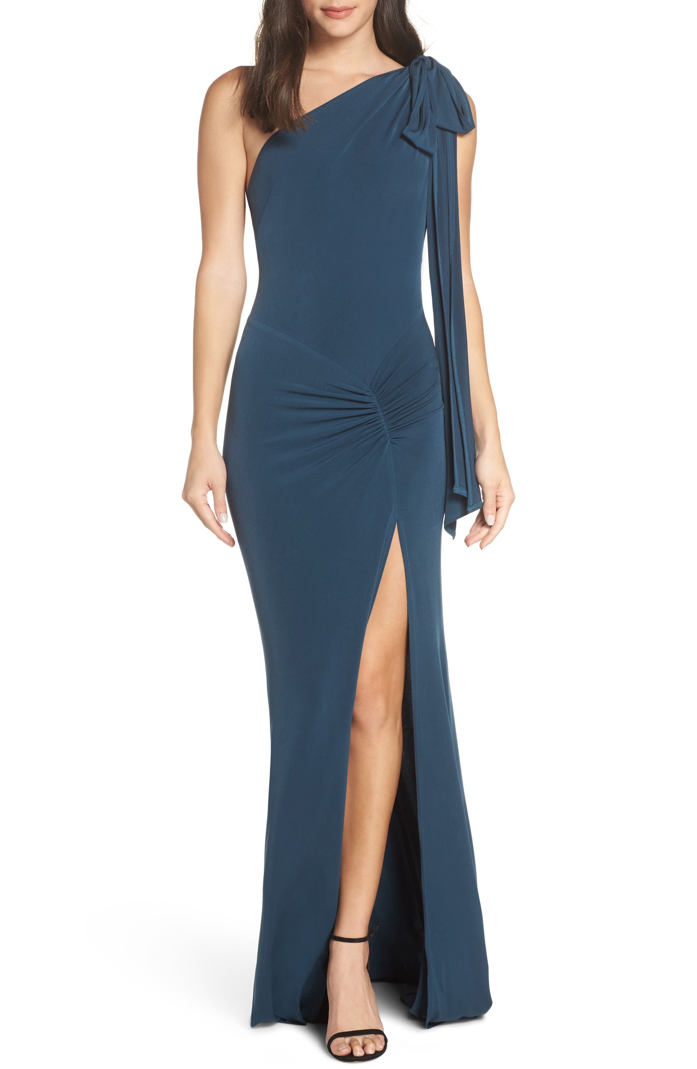 Katie May One-Shoulder Gown, Blue