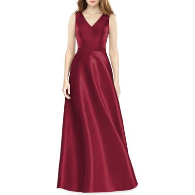 Alfred Sung Sleeveless Sateen Gown, Burgundy