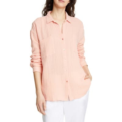 Petite Eileen Fisher Crinkled Cotton Button Up Blouse, Orange