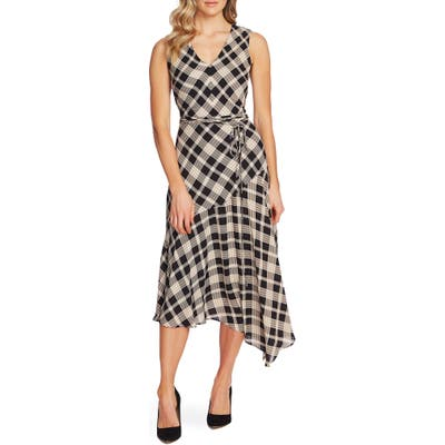 Vince Camuto Highland Plaid Asymmetrical Dress, Black