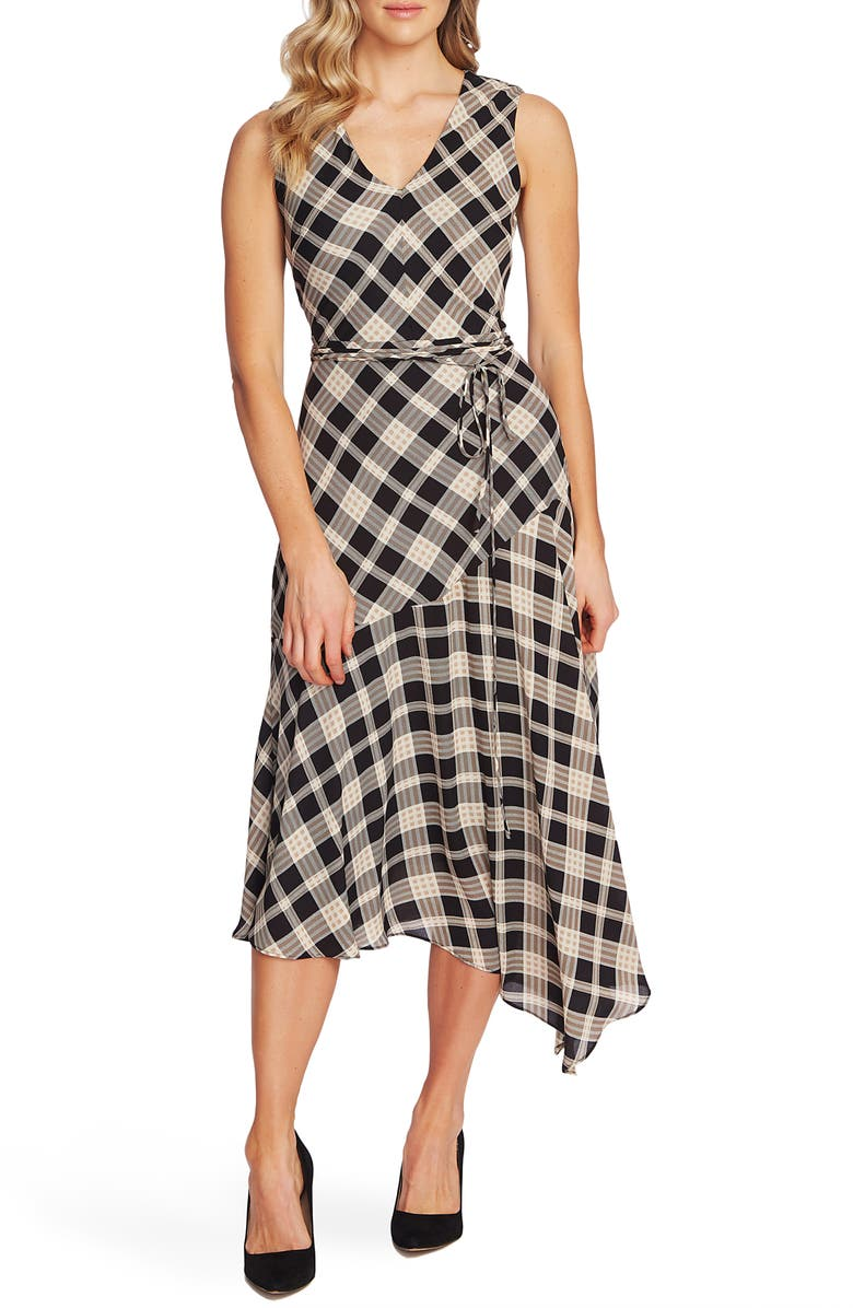 VINCE CAMUTO Highland Plaid Asymmetrical Dress, Main, color, 006