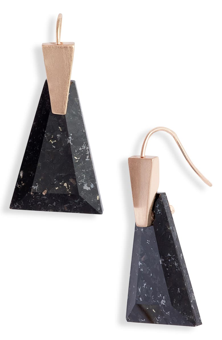 KENDRA SCOTT Collins Small Drop Earrings, Main, color, ROSE GOLD/ BLACK GRANITE