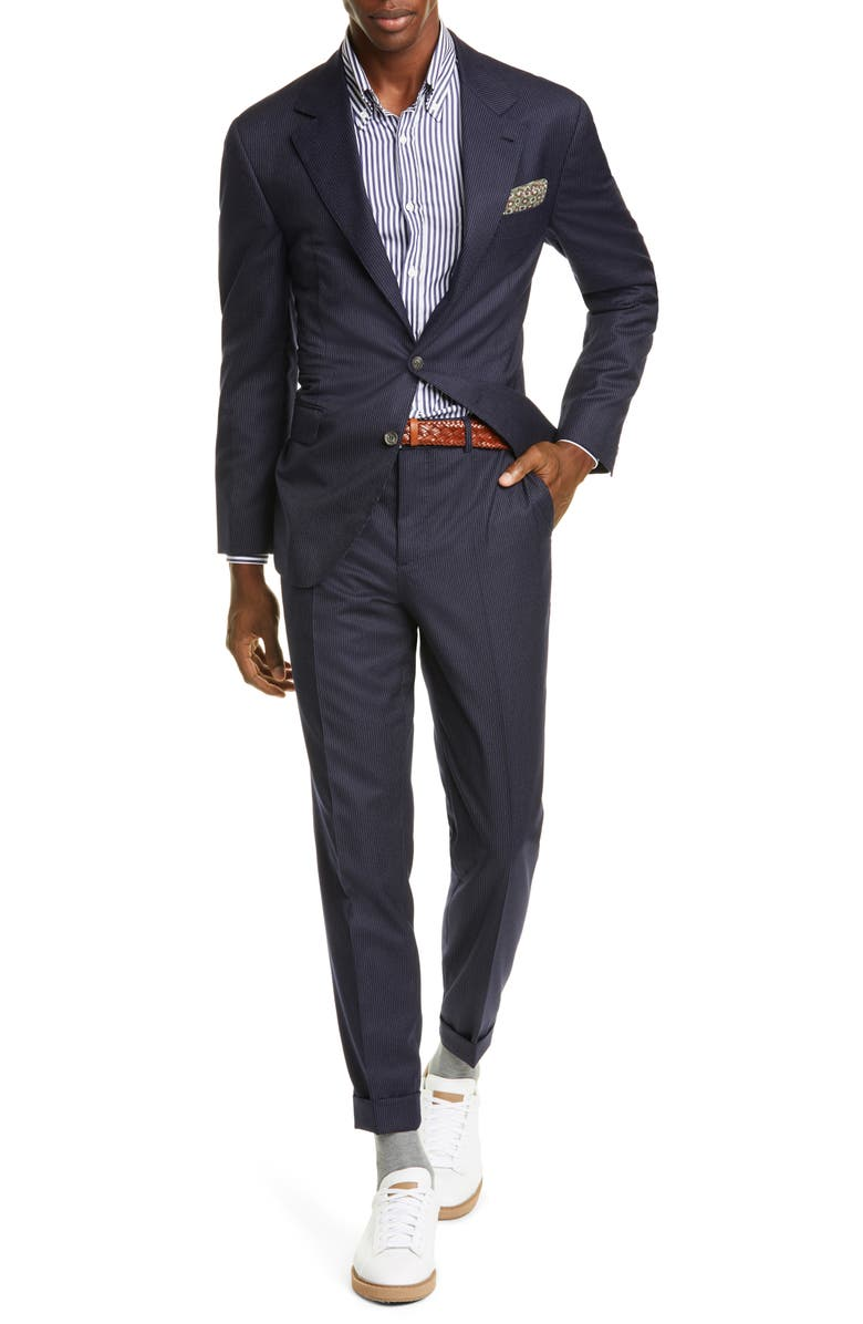 BRUNELLO CUCINELLI Pinstripe Wool Suit, Main, color, NAVY