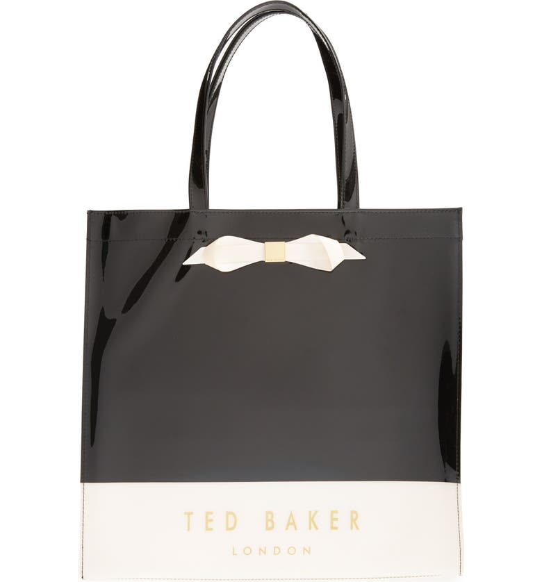 TED BAKER LONDON 'Large Colorblock Bow Icon' Tote, Main, color, 001