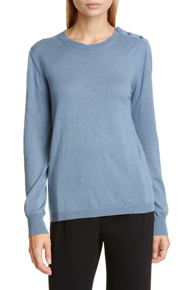 MAX MARA Caraibi Shoulder Button Silk & Cashmere Sweater, Main, color, LIGHT BLUE
