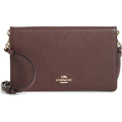Coach Foldover Calfskin Leather Convertible Clutch -