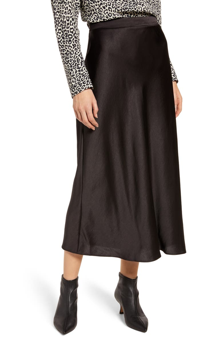 SOMETHING NAVY Midi Slip Skirt, Main, color, BLACK