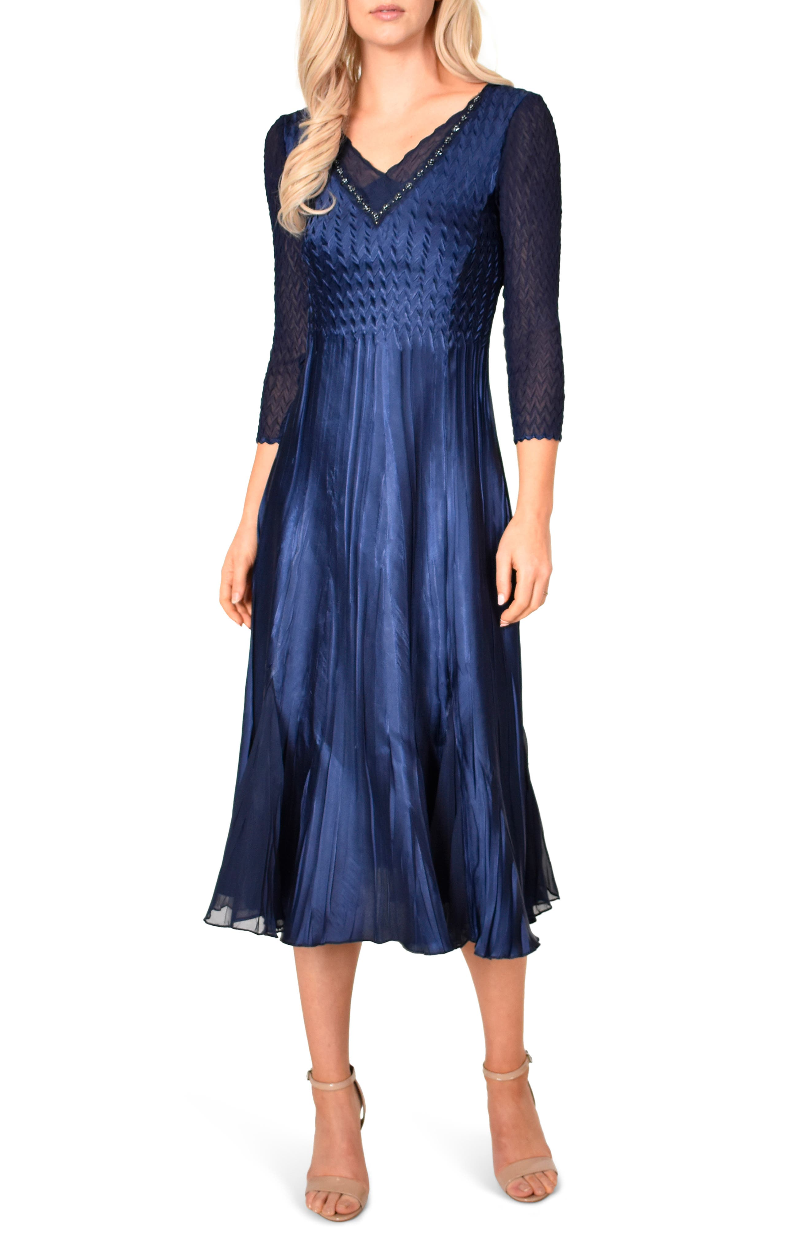 Kamarov Charmuese & Chiffon Dress, Main, color, MIDNIGHT NAVY