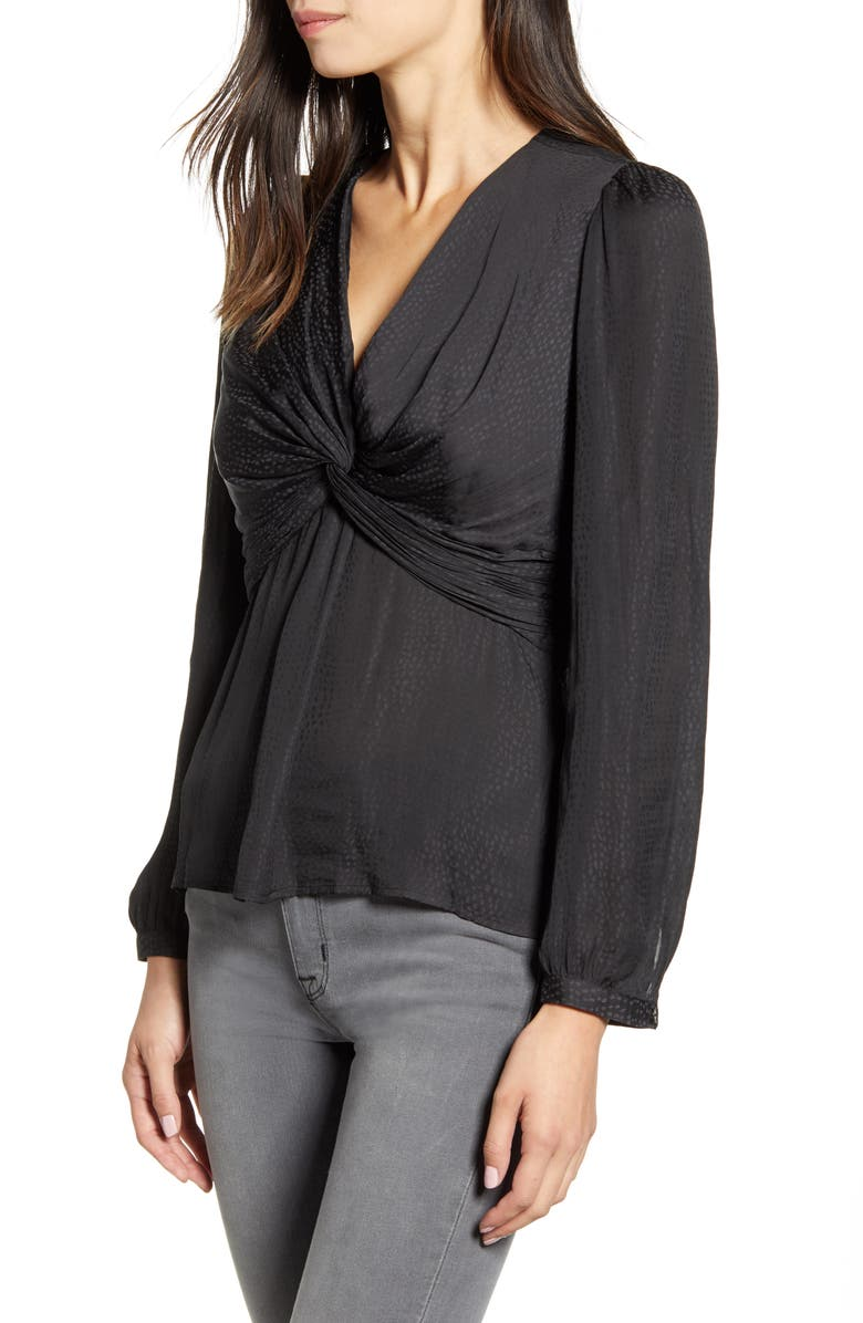 CHELSEA28 Twist Front Top, Main, color, BLACK