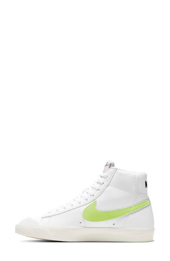 Nike Blazer Mid '77 High Top Sneaker In White/ Barely Volt/ Crimson