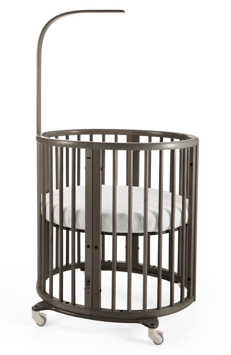 STOKKE Sleepi Mini Crib, Drape Rod & Mattress Bundle, Main, color, HAZY GREY