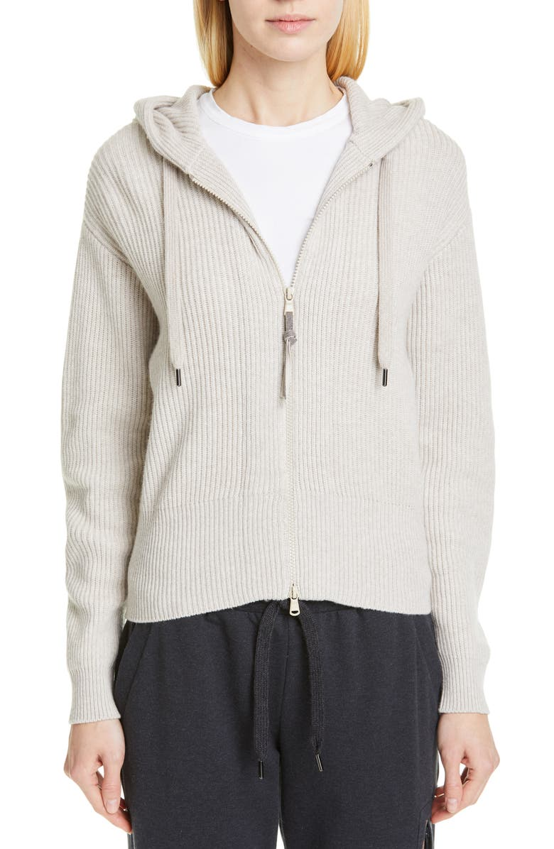 BRUNELLO CUCINELLI English Rib Cashmere Hooded Sweater, Main, color, OYSTER