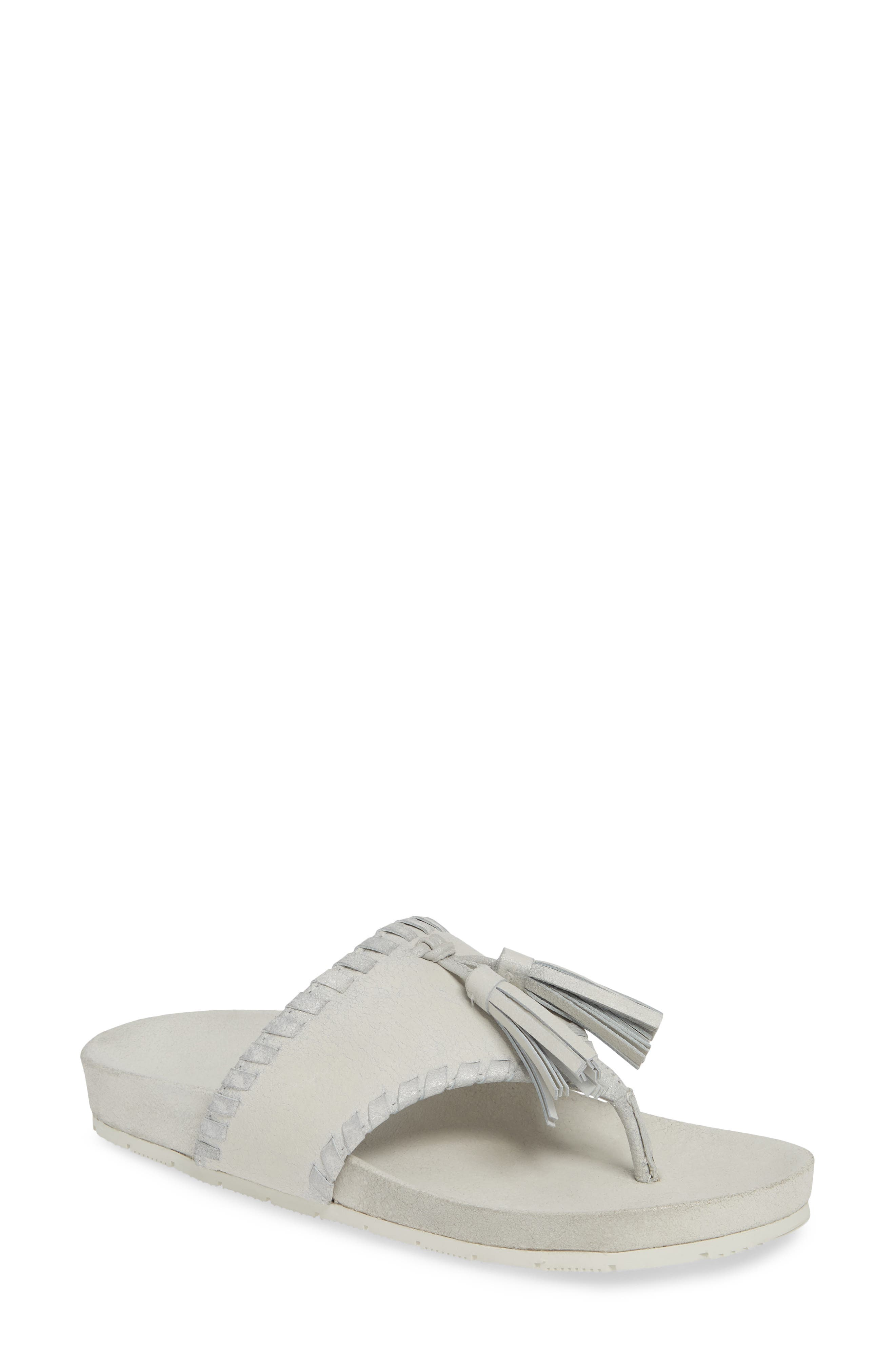 Jslides Nigel Tassel Slide Sandal, Metallic