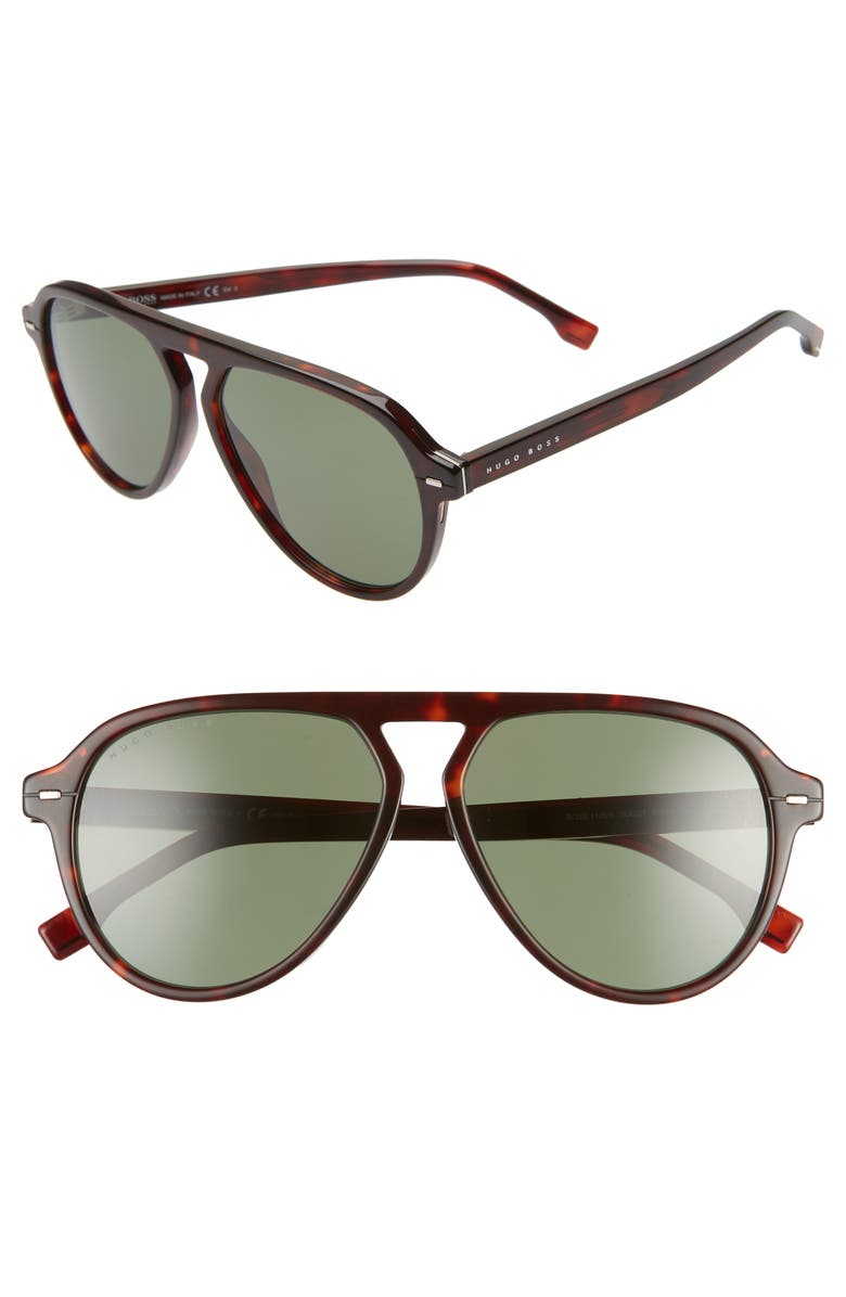 BOSS 57mm Flat Top Sunglasses, Main, color, RED HAVANA