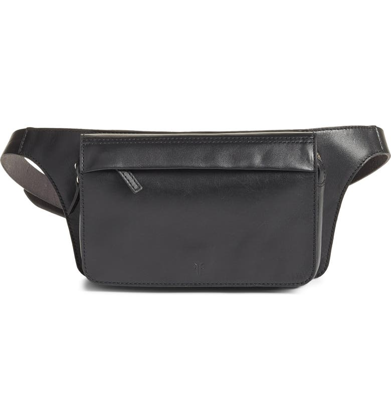 FRYE Leather Belt Bag, Main, color, BLACK