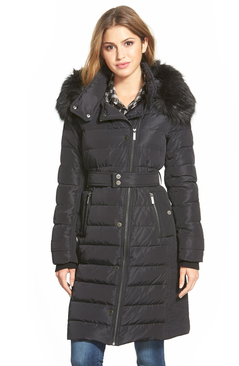 7e2e727c1 French Connection Asymmetrical Down Coat with Faux Fur Trim | Nordstrom