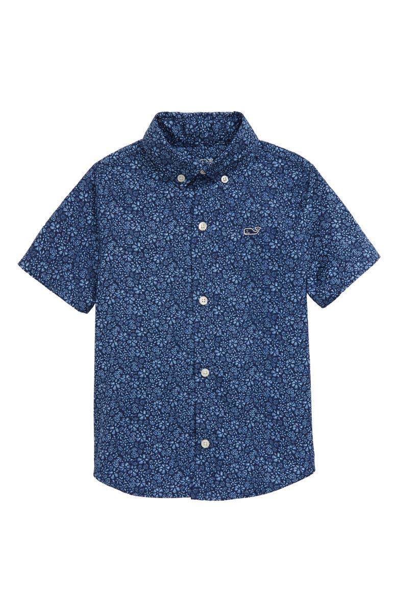VINEYARD VINES Waterway Floral Short Sleeve Button-Down Shirt, Main, color, DEEP BAY