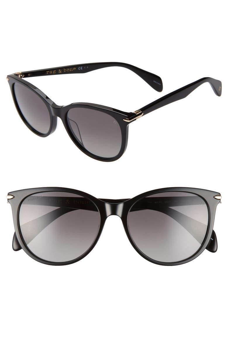 RAG & BONE 54mm Polarized Round Sunglasses, Main, color, BLACK