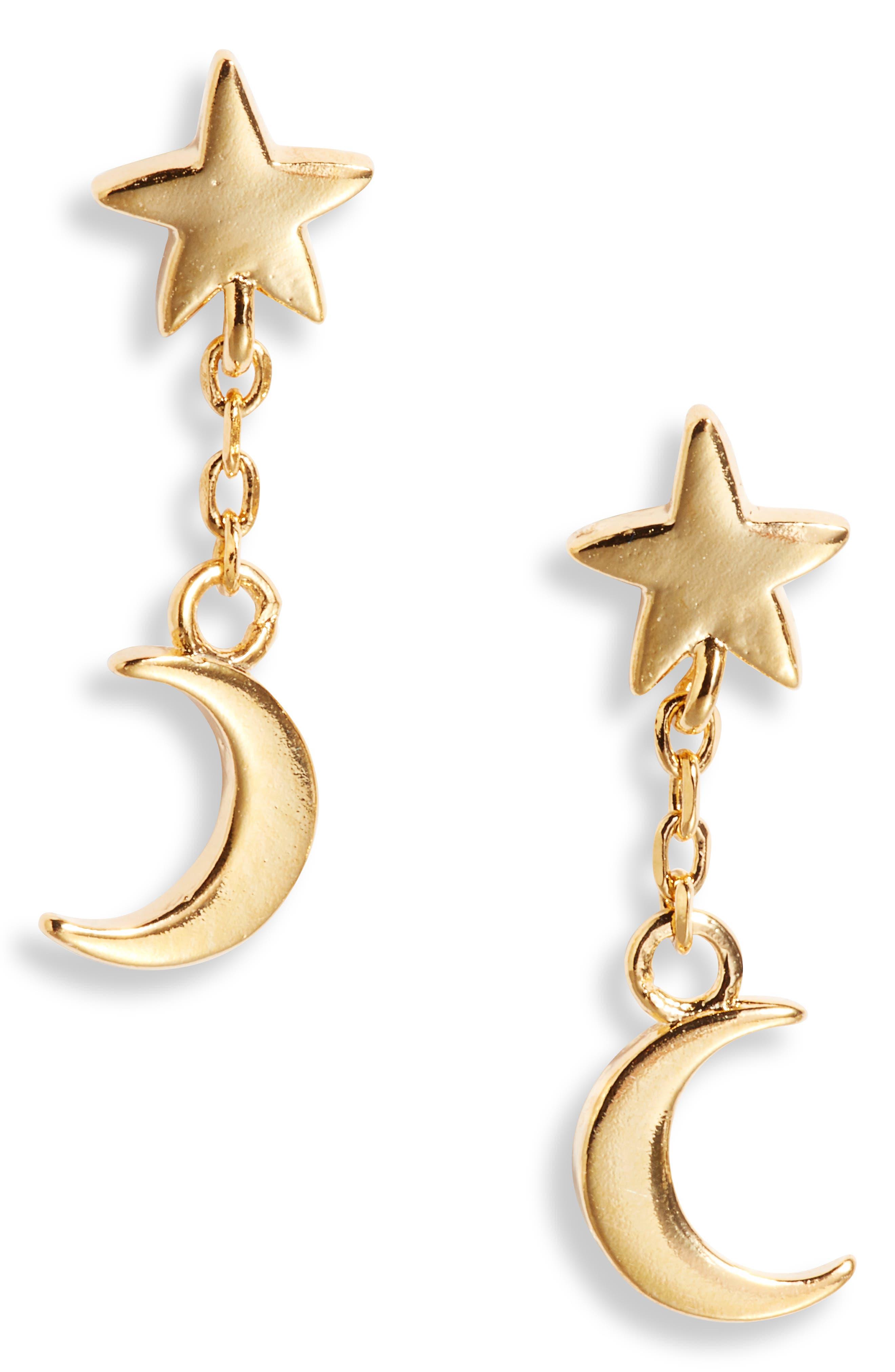Star & Moon Drop Earrings