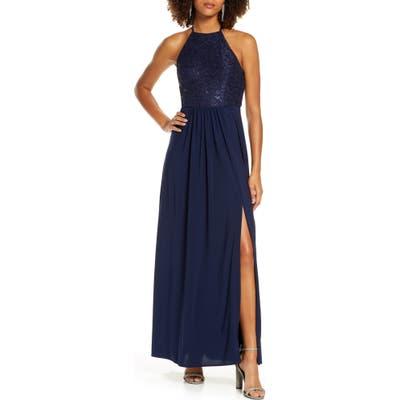 Morgan & Co. Sequin Lace Gown, Blue