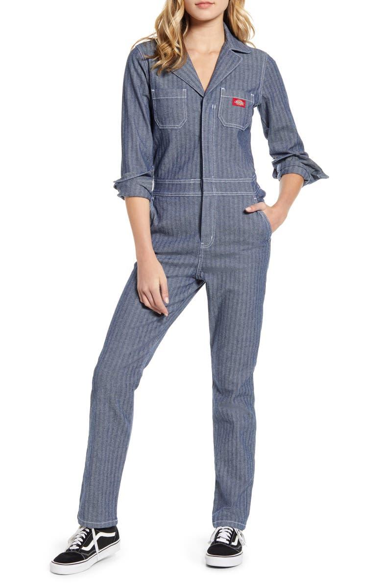 DICKIES Herringbone Jumpsuit, Main, color, DARK STONE