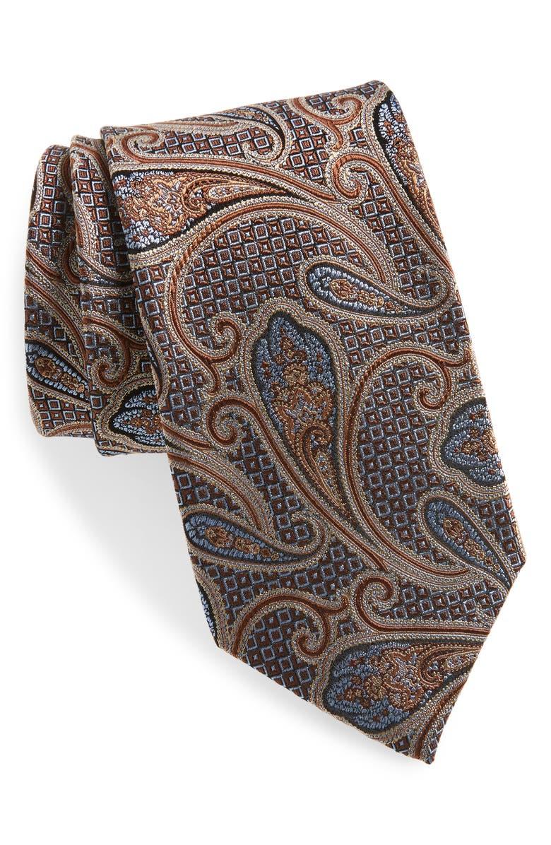 NORDSTROM MEN'S SHOP Paisley Silk Tie, Main, color, BROWN