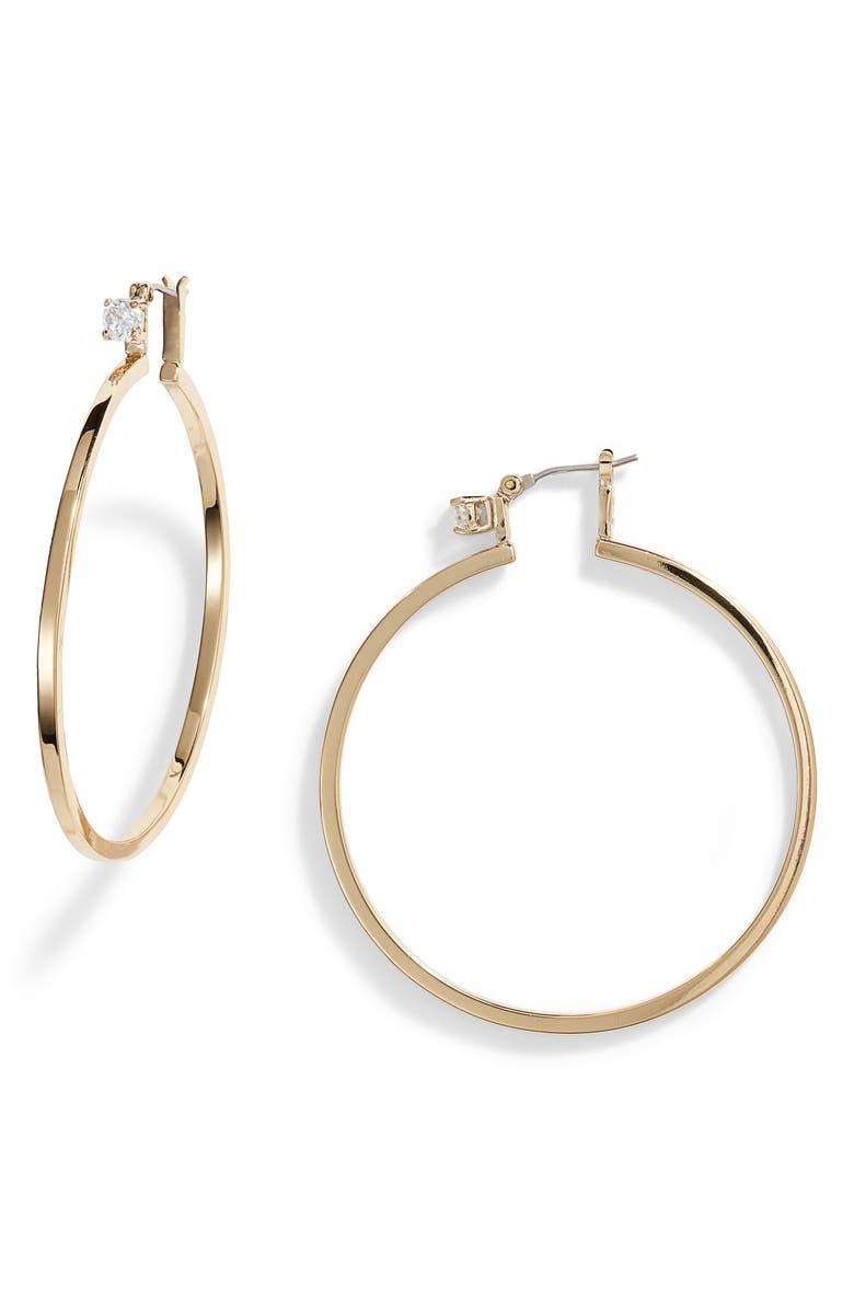 VINCE CAMUTO Crystal Stud Large Hoop Earrings, Main, color, GOLD