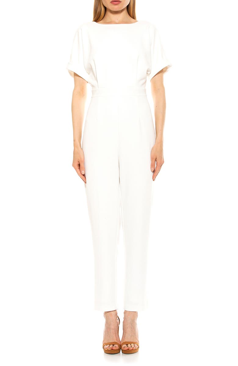 ALEXIA ADMOR Sadie Boatneck Tapered Jumpsuit, Main, color, IVORY