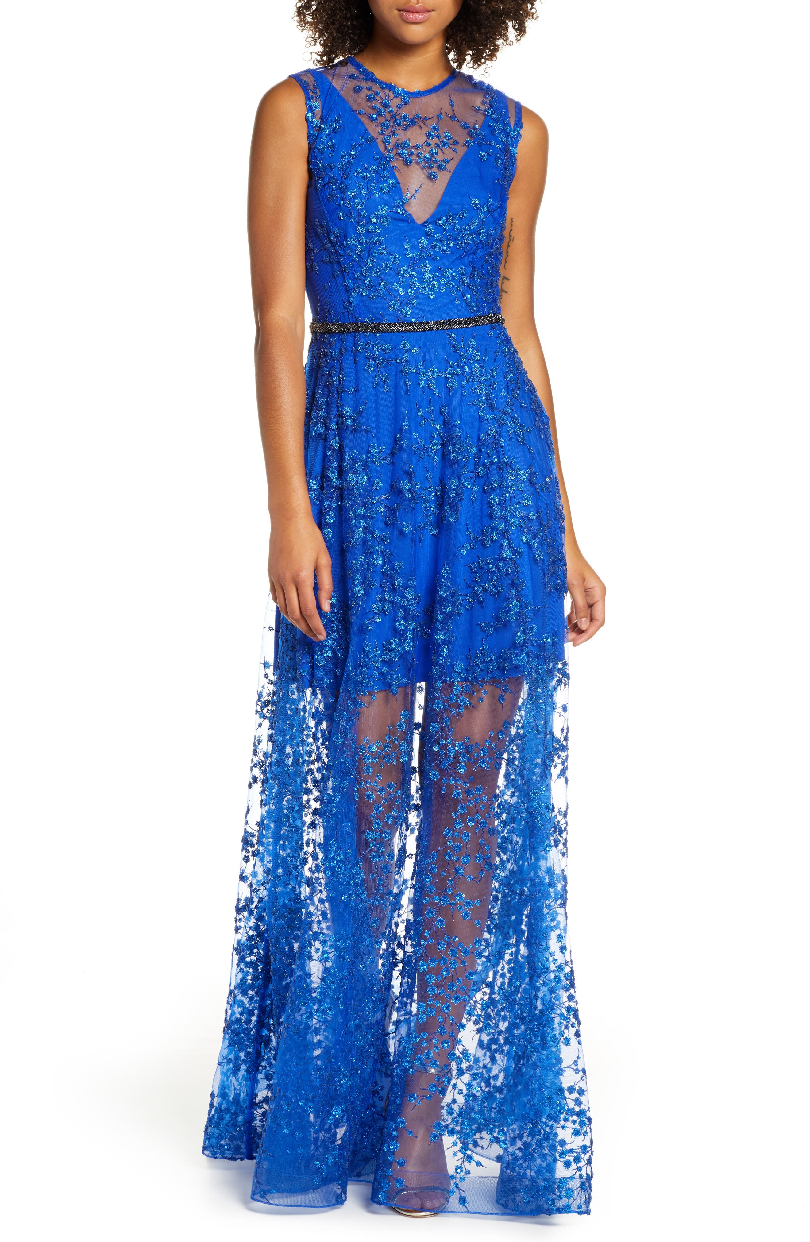 Bronx And Banco Olympia Floral Sheer Column Gown, Blue