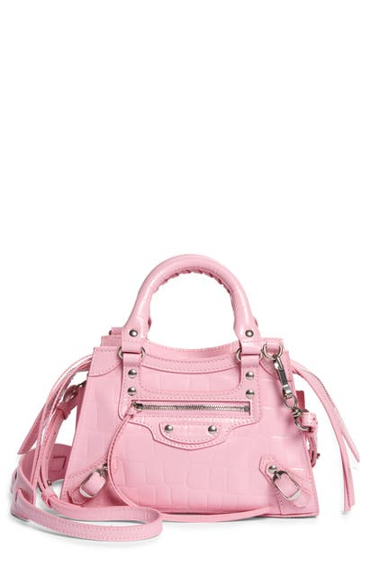 Balenciaga MINI NEO CLASSIC CITY CROC EMBOSSED LEATHER TOP HANDLE BAG