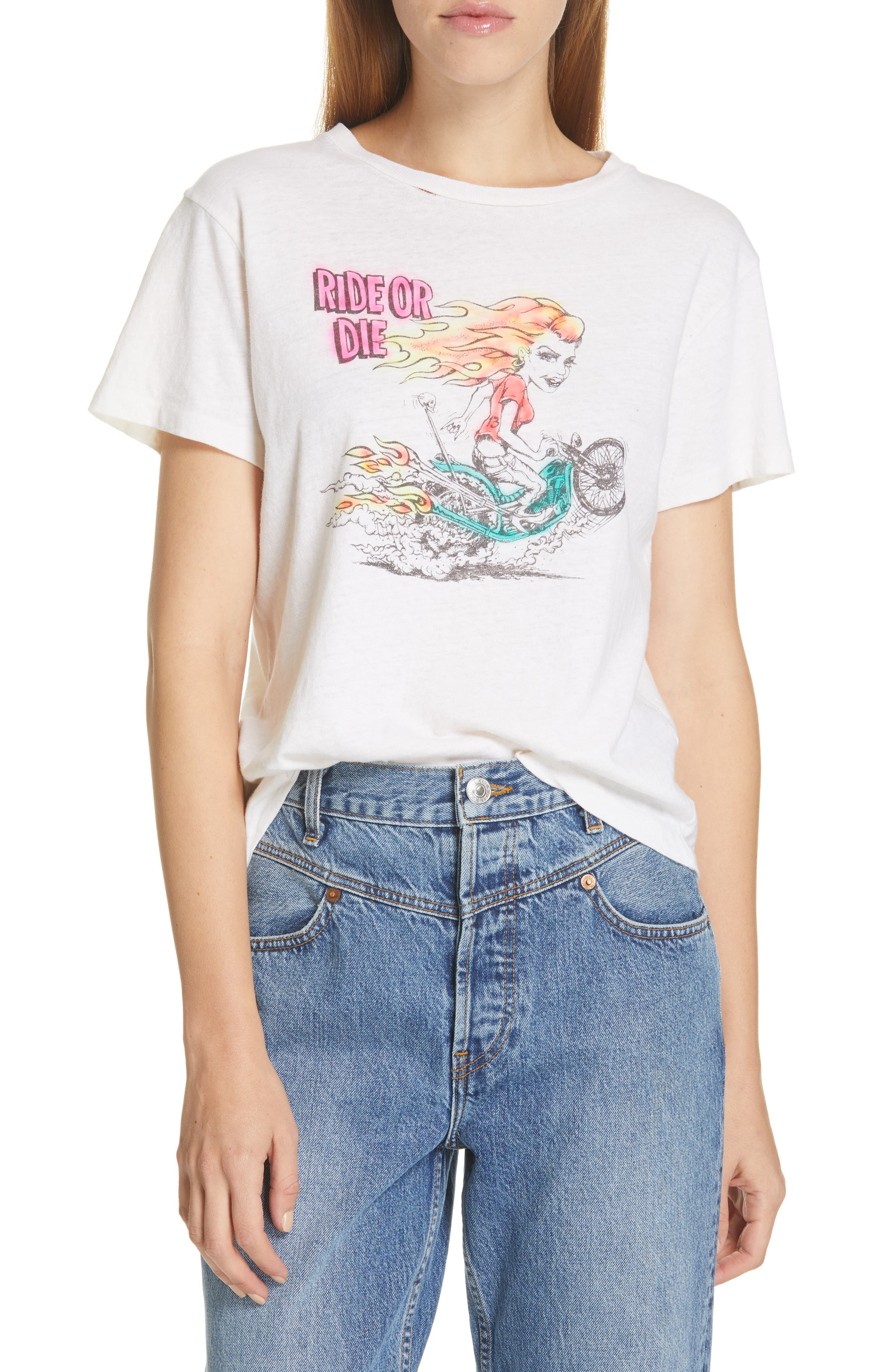 ,                             Ride or Die Classic Graphic Tee,                             Main thumbnail 1, color,                             VINTAGE WHITE