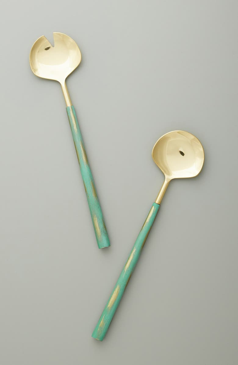 ANTHROPOLOGIE Eden Salad Servers, Main, color, BLUE
