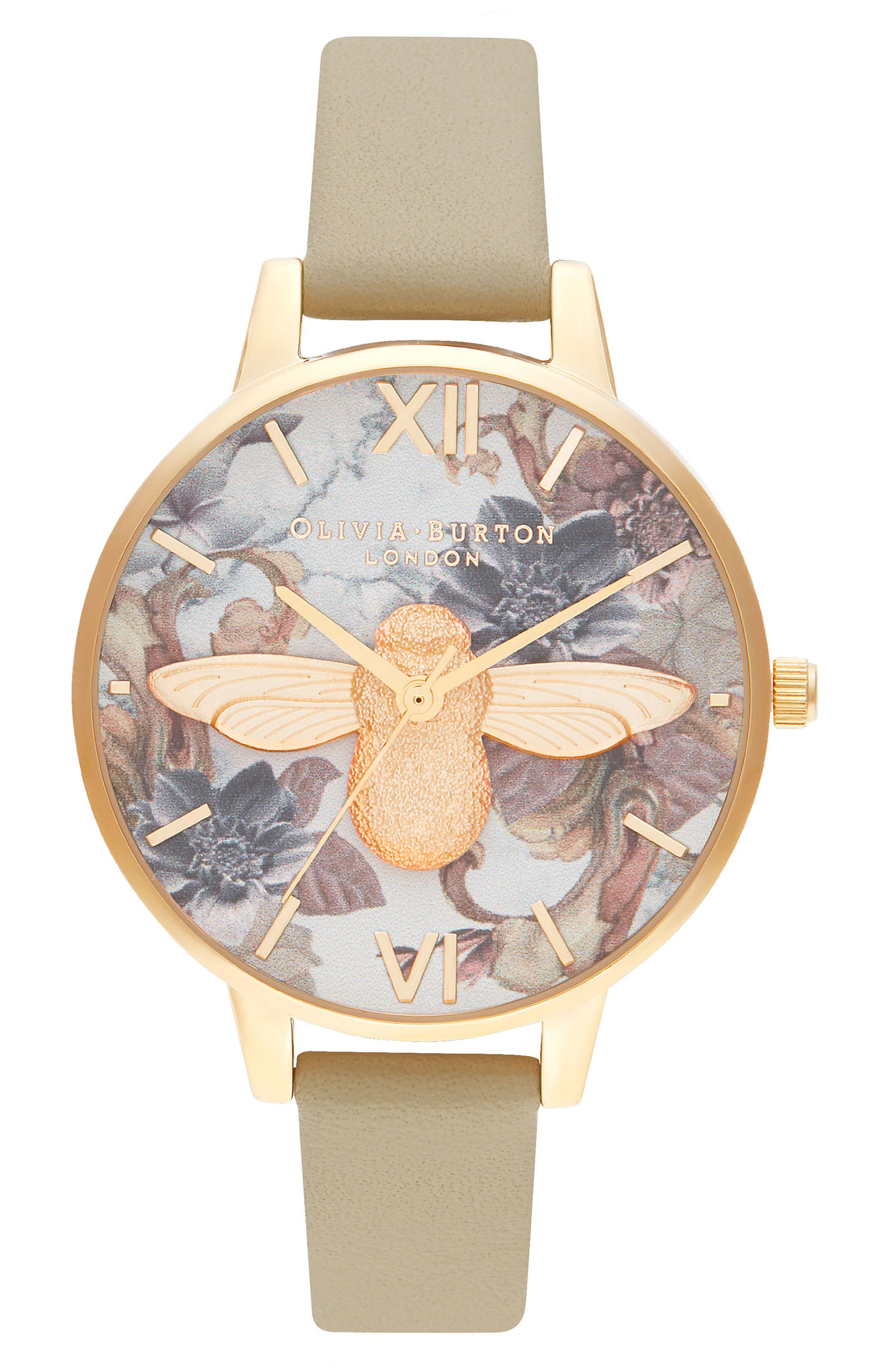 Image of OLIVIA BURTON Women's Marble Florals Leather Strap Watch, 34mm