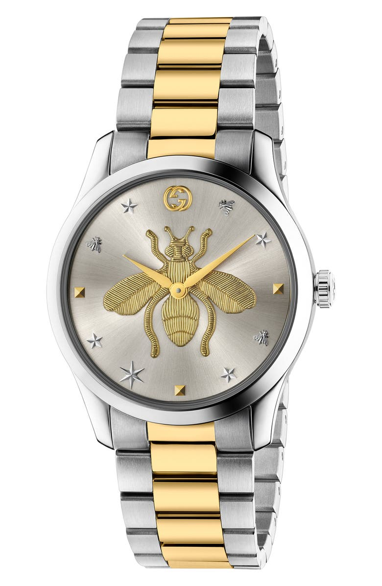 GUCCI G-Timeless Bee Bracelet Watch, 38mm, Main, color, SILVER/ GOLD/ SILVER