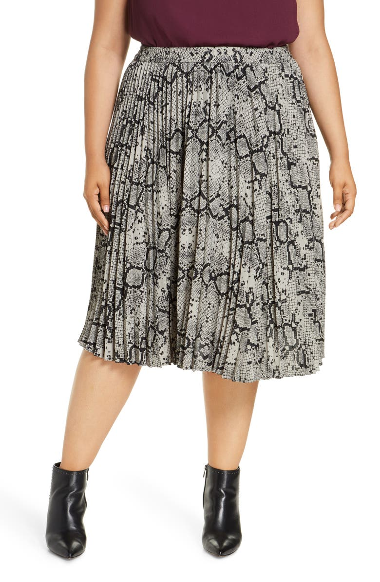 HALOGEN<SUP>®</SUP> Pleated Skirt, Main, color, GREY SNAKE PRINT