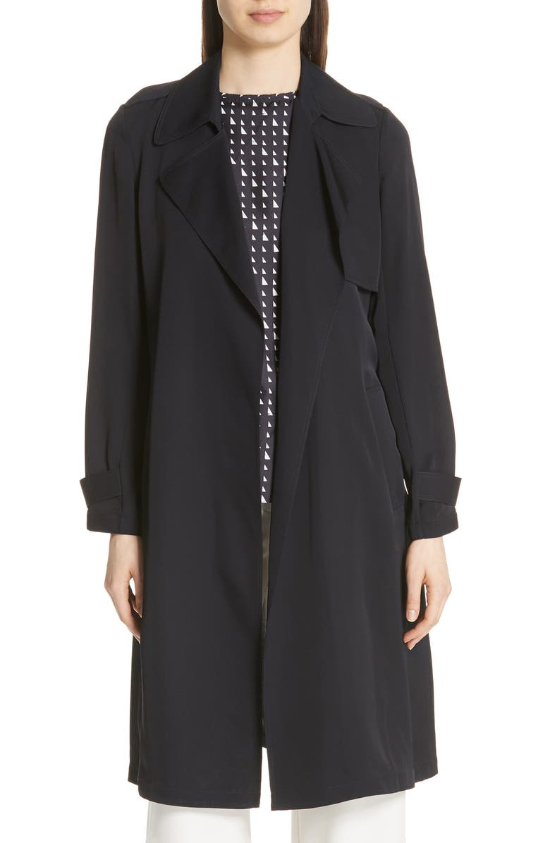 THEORY Oaklane Modern Silk Trench Coat, Main, color, 001