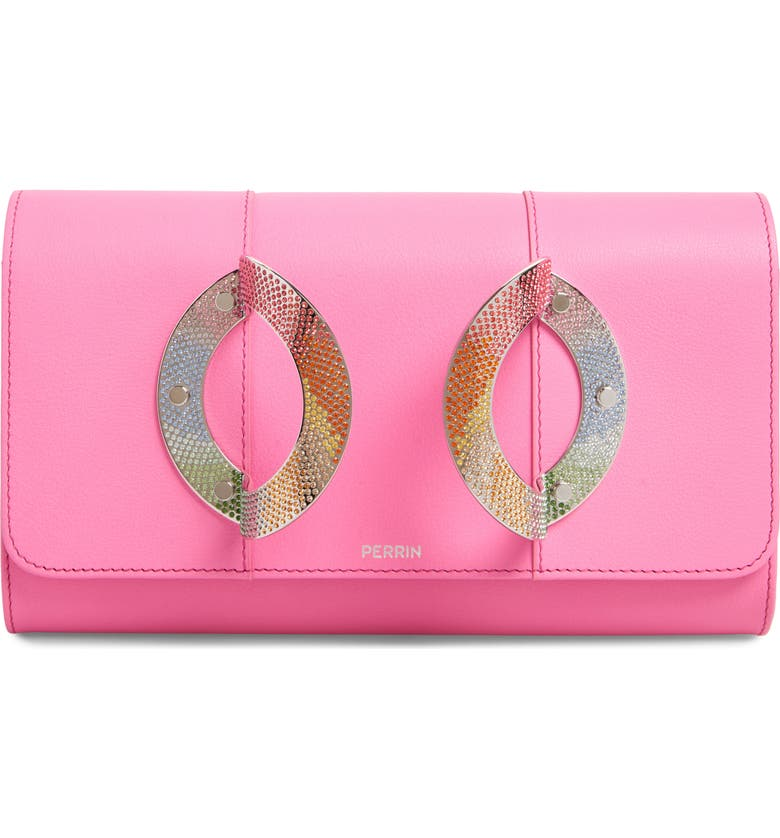 PERRIN La Croisette Crystal Embellished Leather Clutch, Main, color, PEPTO