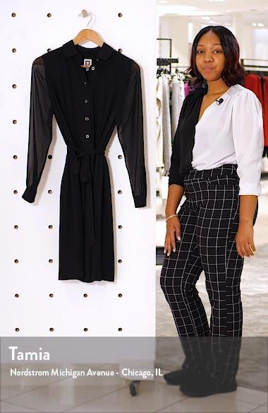 Long Sleeve Chiffon & Crepe Shirtdress, sales video thumbnail